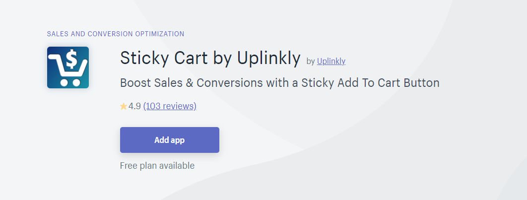 Sticky Cart by Uplinkly Shopify App