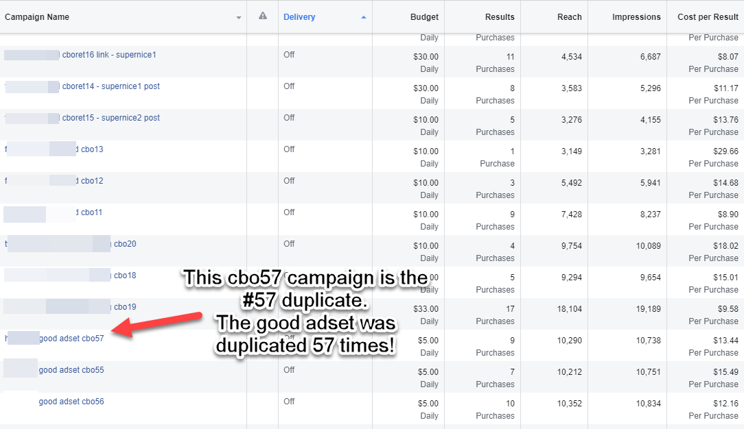 Facebook CBO ads scaling by duplicating winning adset