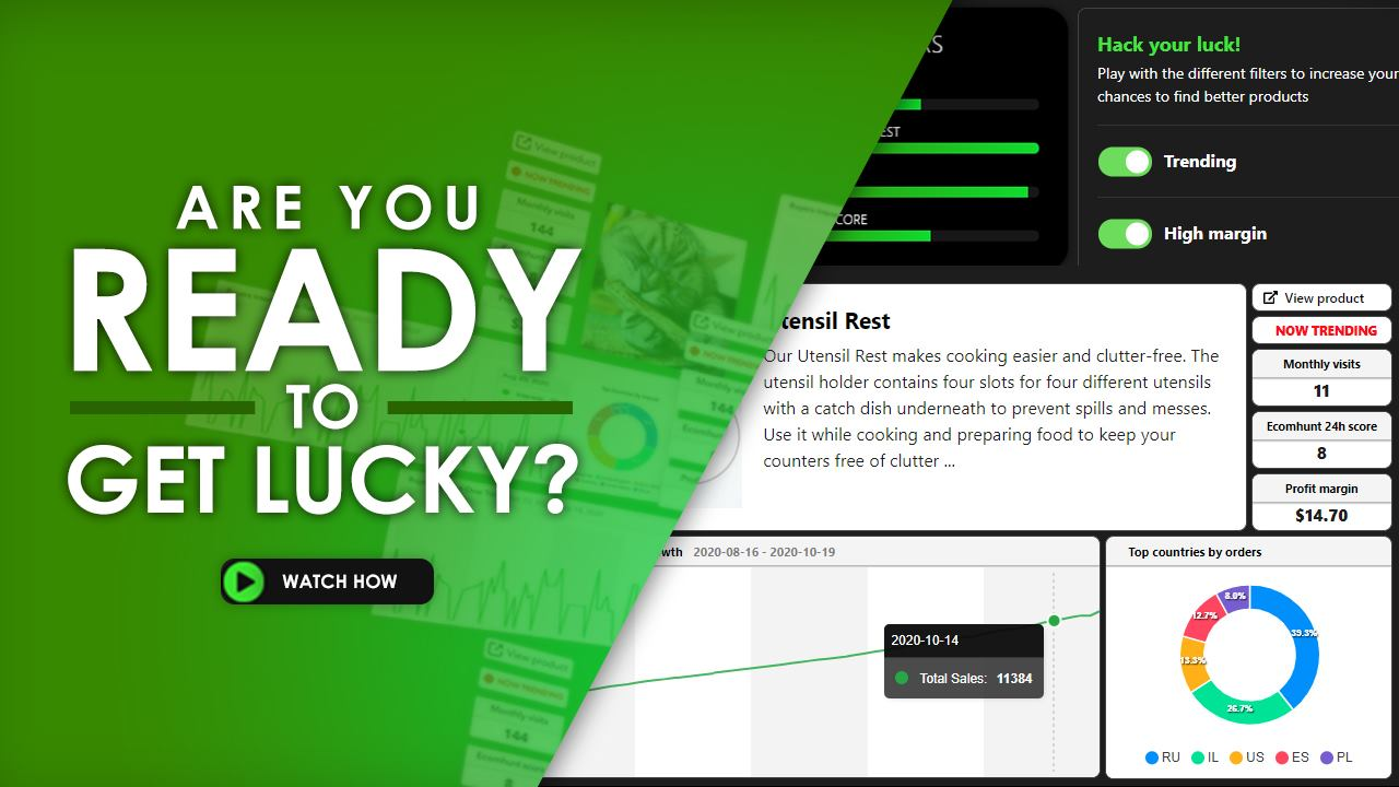 [New Feature] Ecomhunt LUCKY - Sometimes All It Takes To Find A Winning Product Is A Bit Of Luck