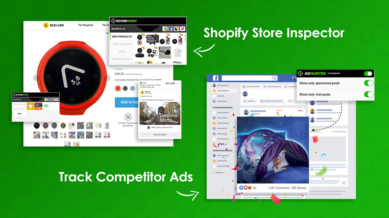 [New Feature] Ecomhunt Extension - Hunt Down Your Competitor Facebook Ads And Shopify Stores With A Click!