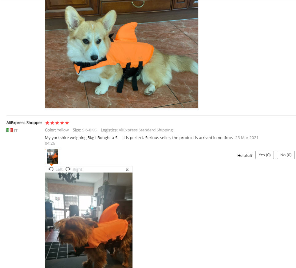 Aliexpress dog life vest picture reviews