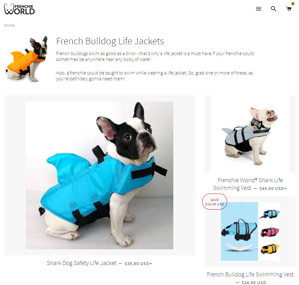Shark dog life vest collection page on Shopify