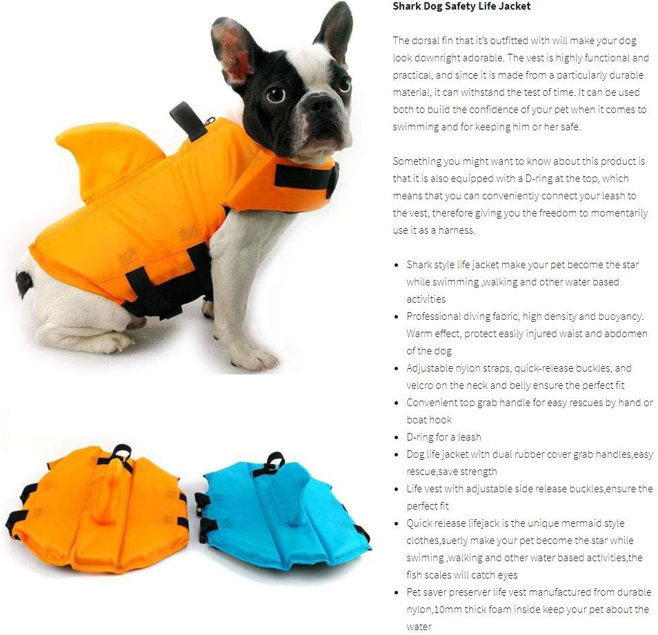shark dog life vest product description