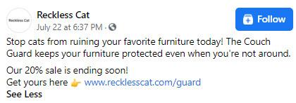 Cat scratch guard Facebook ad copy