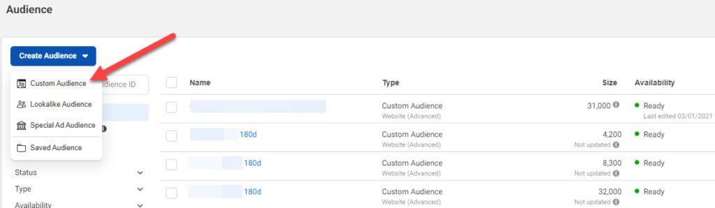custom audience creation Facebook ads