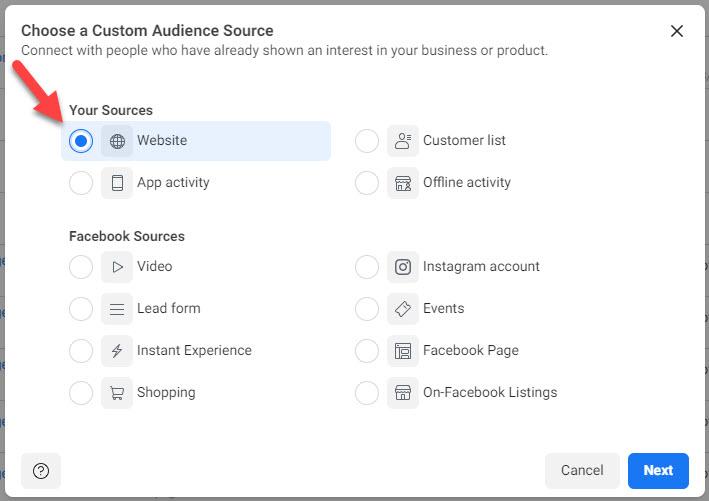 facebook ads custom audience source