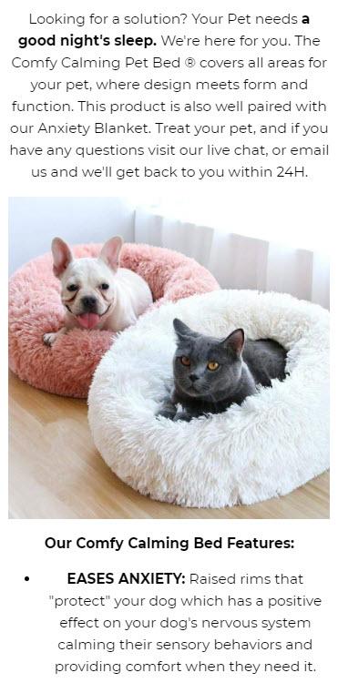 Pet bed product description
