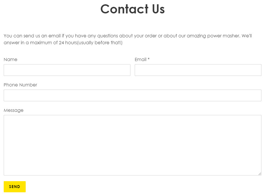 contact us example page on Shopify
